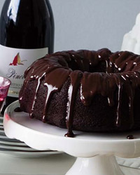 chocolate cake, chocolate bundt, ganache, food and wine