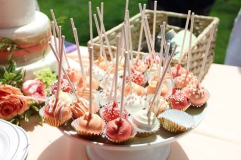 cake pops, vanilla, coral, peach, bridal shower, gold